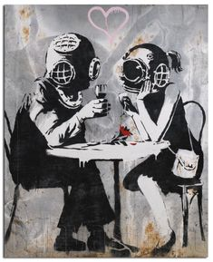 Bansky mural of a couple with masks on a date.