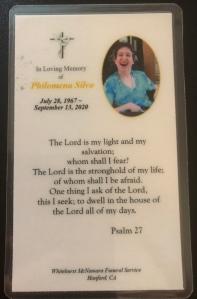 Prayer Card for Philomena Carmen Silva who died on September 13, 2020